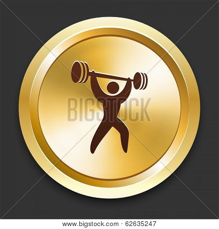 Weight Lift Icons on Gold Button Collection