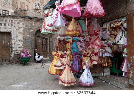 Selling dresses in Yemen
