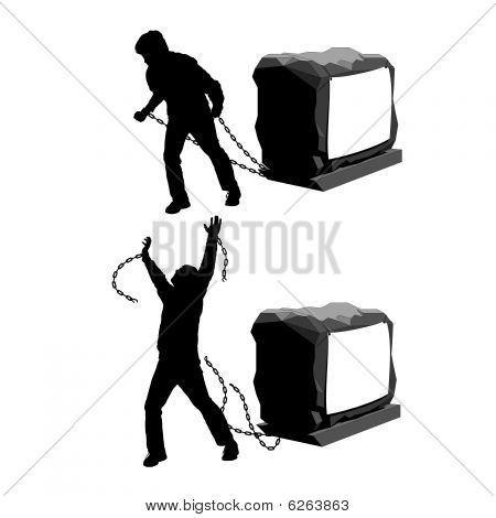 Man held back and then breaking the chains to gain freedom illustration : Bigstock