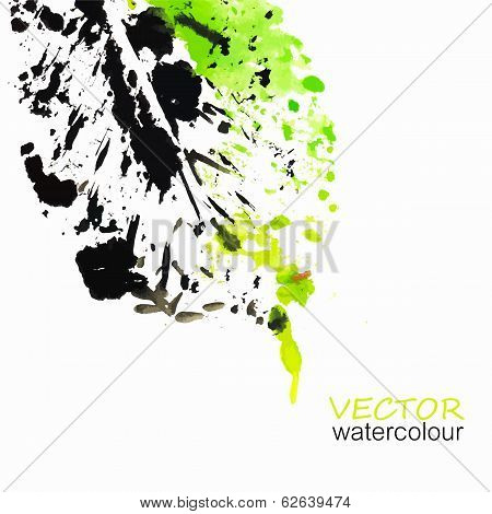 Abstract watercolor eco leaf background