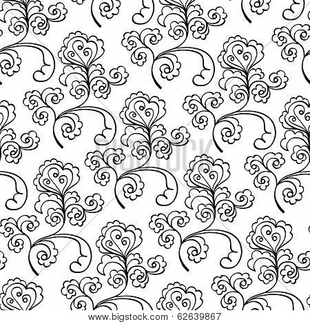 floral decorative black and white  pattern