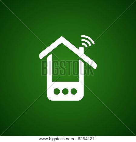 Phone house icon over green