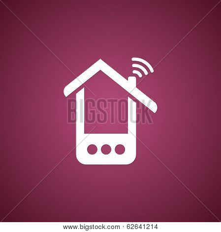 Phone house icon over pink
