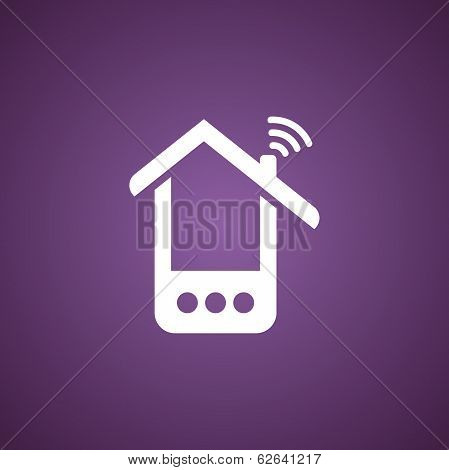 Phone house icon over purple