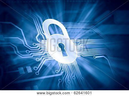 Conceptual digital image of mother board with lock