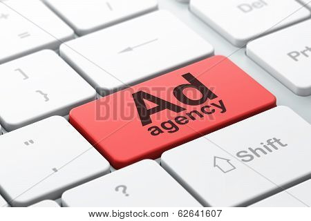Advertising concept: Ad Agency on computer keyboard background