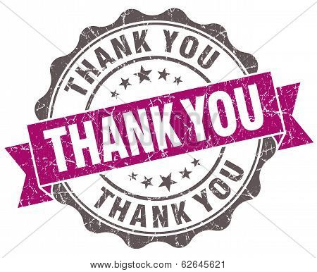 Thank You Violet Grunge Retro Style Isolated Seal