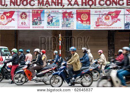 Motorcycle Drivers In Hanoi, Vietnam