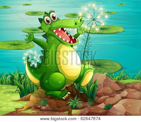 Illustration of a crocodile above the stump near the pond