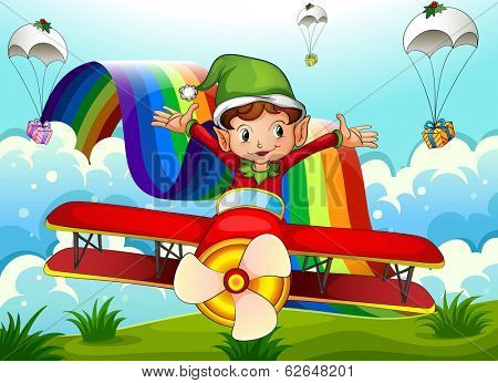 Illustration of a plane with an elf and a rainbow in the sky with parachutes