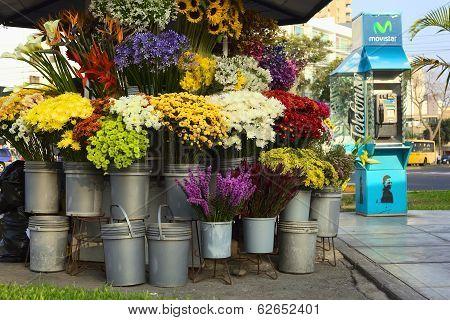 Flower Stand in Lima, Peru