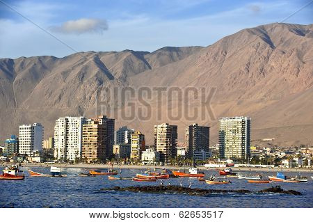 Iquique Behind A Huge Dune, Northern Chile