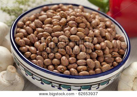 Borlotti beans in a bowl