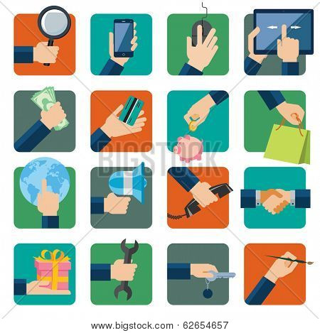Flat design vector illustration icons set for business, web and mobile phone services. Hands with shopping and business elements isolated on colored background.