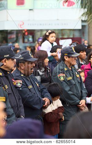 Policemen at the Wong Parade in Lima, Peru