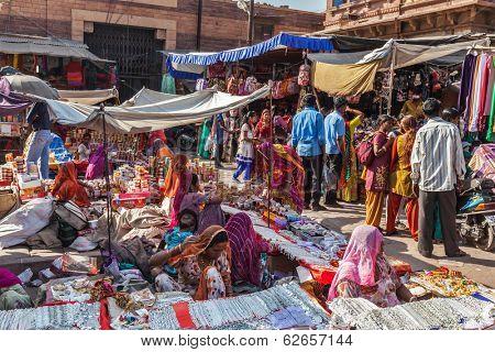 JODHPUR, INDIA - NOVEMBER 26, 2012: People in Indian street market in Jodhpur, Rajasthan, India