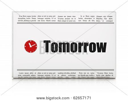 Time concept: newspaper with Tomorrow and Clock