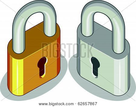 Lock or Padlock - Brass & Metal