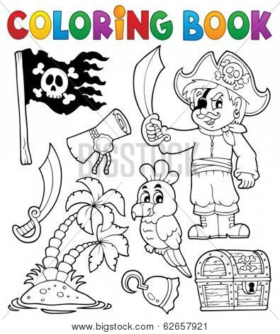 Coloring book pirate thematics 1 - eps10 vector illustration.