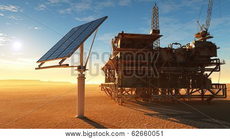 Solar battareya station and the old oil-producing desert.