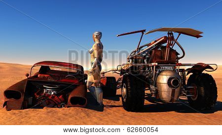 Cyborg between the old and the modern machines in the desert.