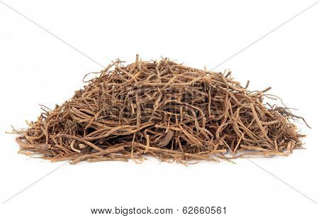 Gentian root herb used in chinese herbal medicine over white background. Long dan cao. Gentiana.