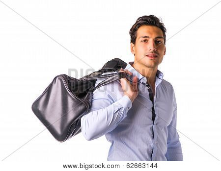 Young Man With Big Leather Bag Over Shoulder