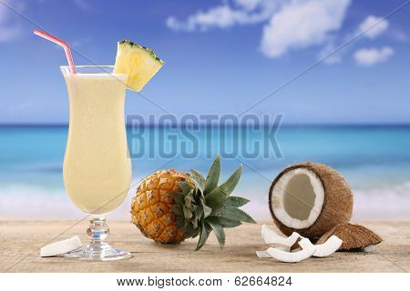 Pina Colada Cocktail On The Beach