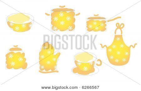 Yellow cooking set