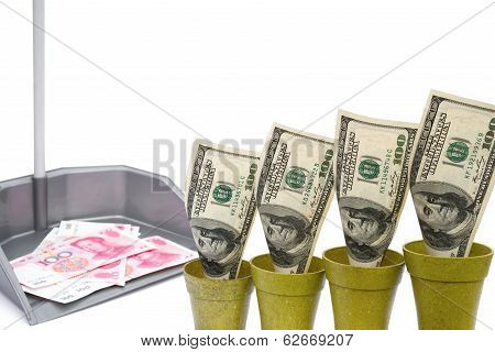 Usd Rising And Rmb In Rubbish Bin With Clipping Path