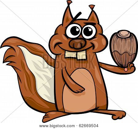 Squirrel With Nut Cartoon Illustration