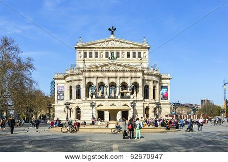 People At Opernplatz In Front Of Frankfurt Old Opera