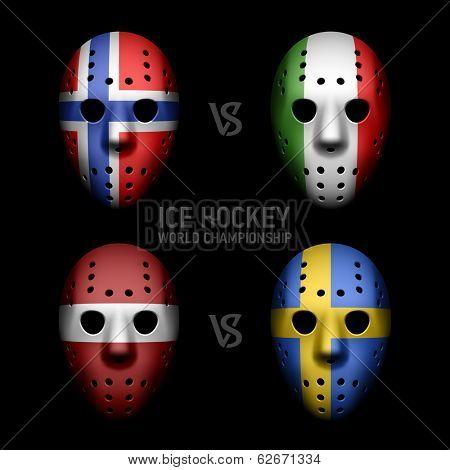 Goalie masks with flags of the Ice Hockey World Championship. Vector.
