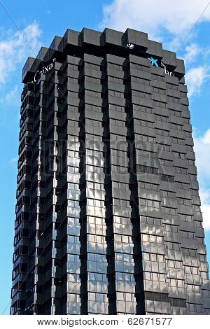 The Skyscrapers Of La Caixa Headquarters Complex On Avinguda Diagonal