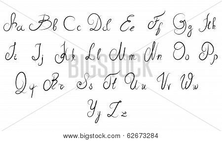 Vector Hand Drawn Calligraphic Alphabet
