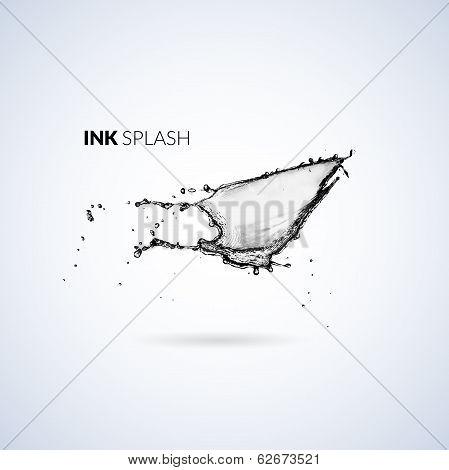 Black ink paint or oil splash isolated on white