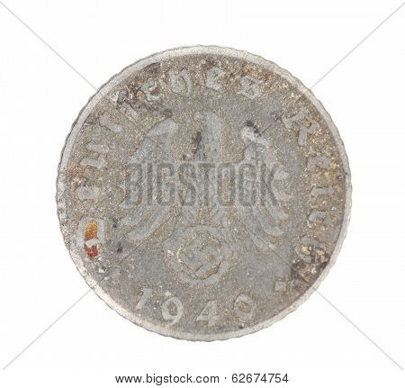 Deutsches coin. Back view.