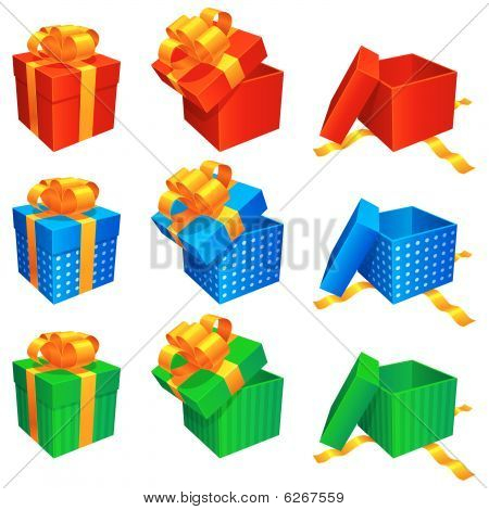 Vector gift boxes.