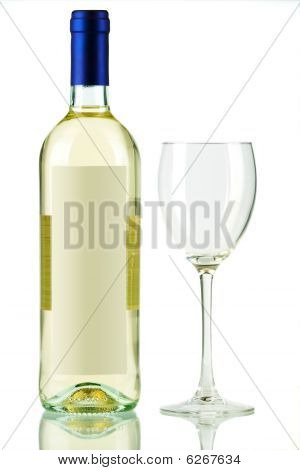 Bottle Of White Wine And Empty Wine Glass