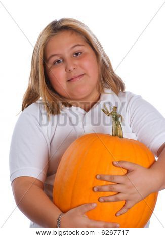 Girl Holding Pumpkin