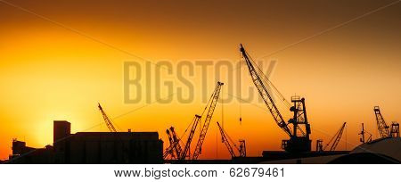 Construction Cranes On Industry Site