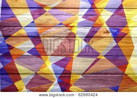 geometric cubism mosaic colored on wood background
