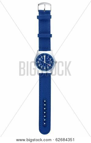 Blue wristwatch closeup