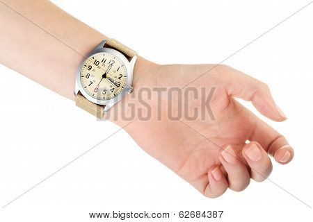 Wristwatch on woman hand