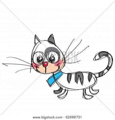 Cartoon Baby Vector Cat In A Naif Childish Drawing Style