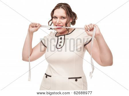 Beautiful Plus Size Woman Gnawing Centimeter