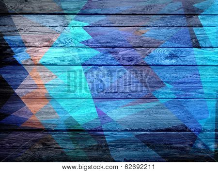 geometric cubism colored on wood background