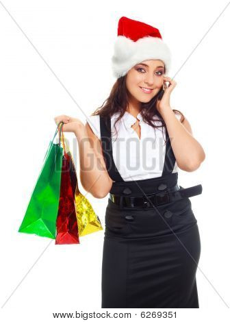 Girl With Bags Talking On The Phone