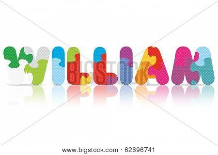 WILLIAM written with alphabet puzzle - vector illustration