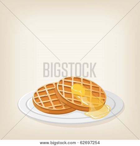 Waffles With A Piece Butter